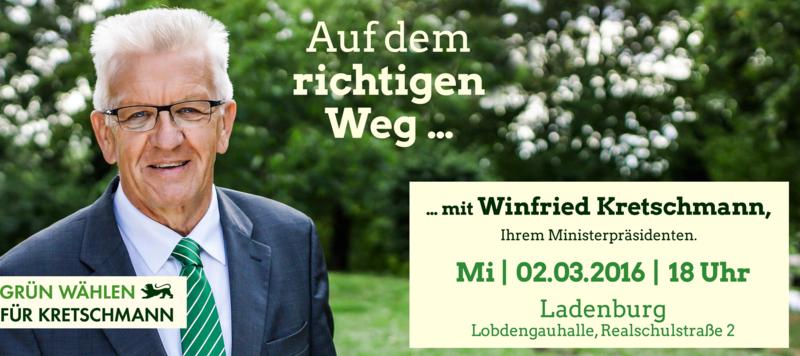 Auf dem richtigen Weg mit Ministerpräsident Kretschmann - Bürgerempfang am Mittwoch, 2. März 18 Uhr, Ladenburg Lobdengauhalle