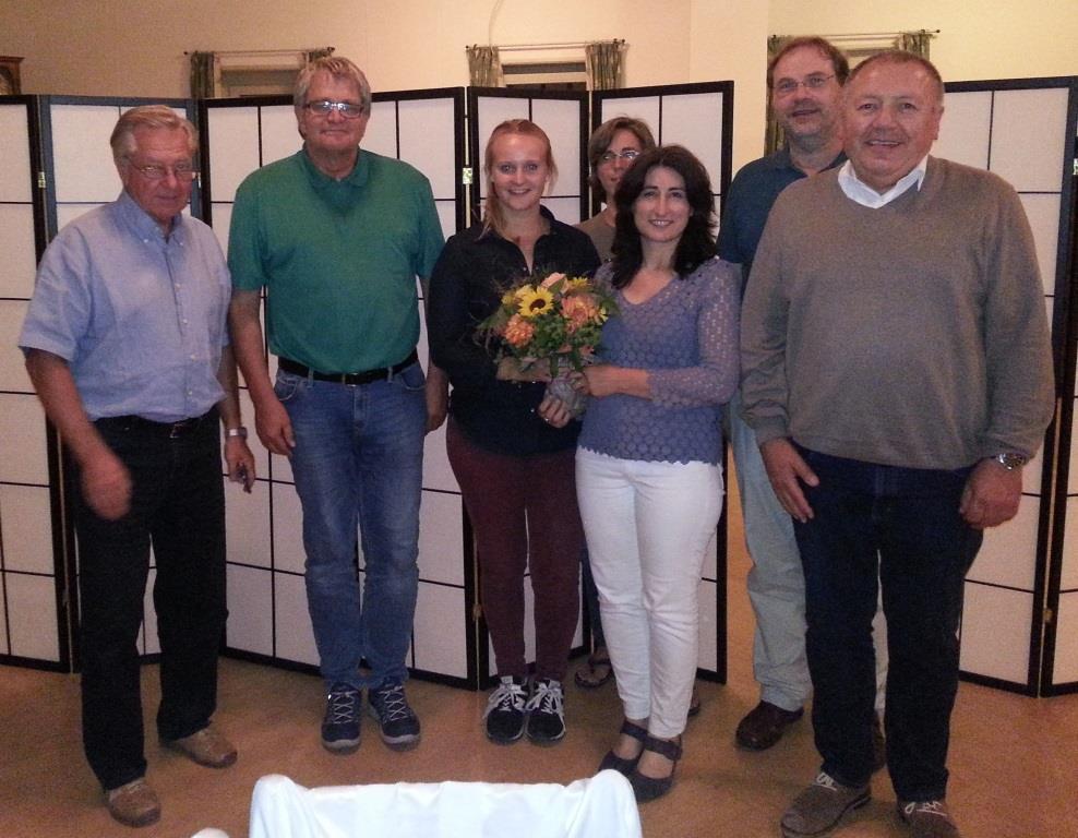 Der neue Kreisvorstand von links:: Reiner Edinger, Uli Sckerl, Marilena Geugjes, Claudia Schmiedeberg, Fadime Tuncer, Günther Heinisch und Wolfgang Fremgen